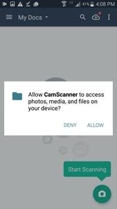 CamScanner Permissions