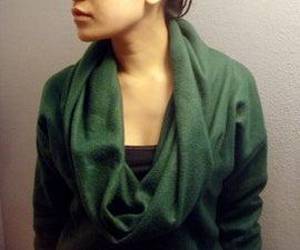 Cowl-Neck Sweater from Fleece Blanket
