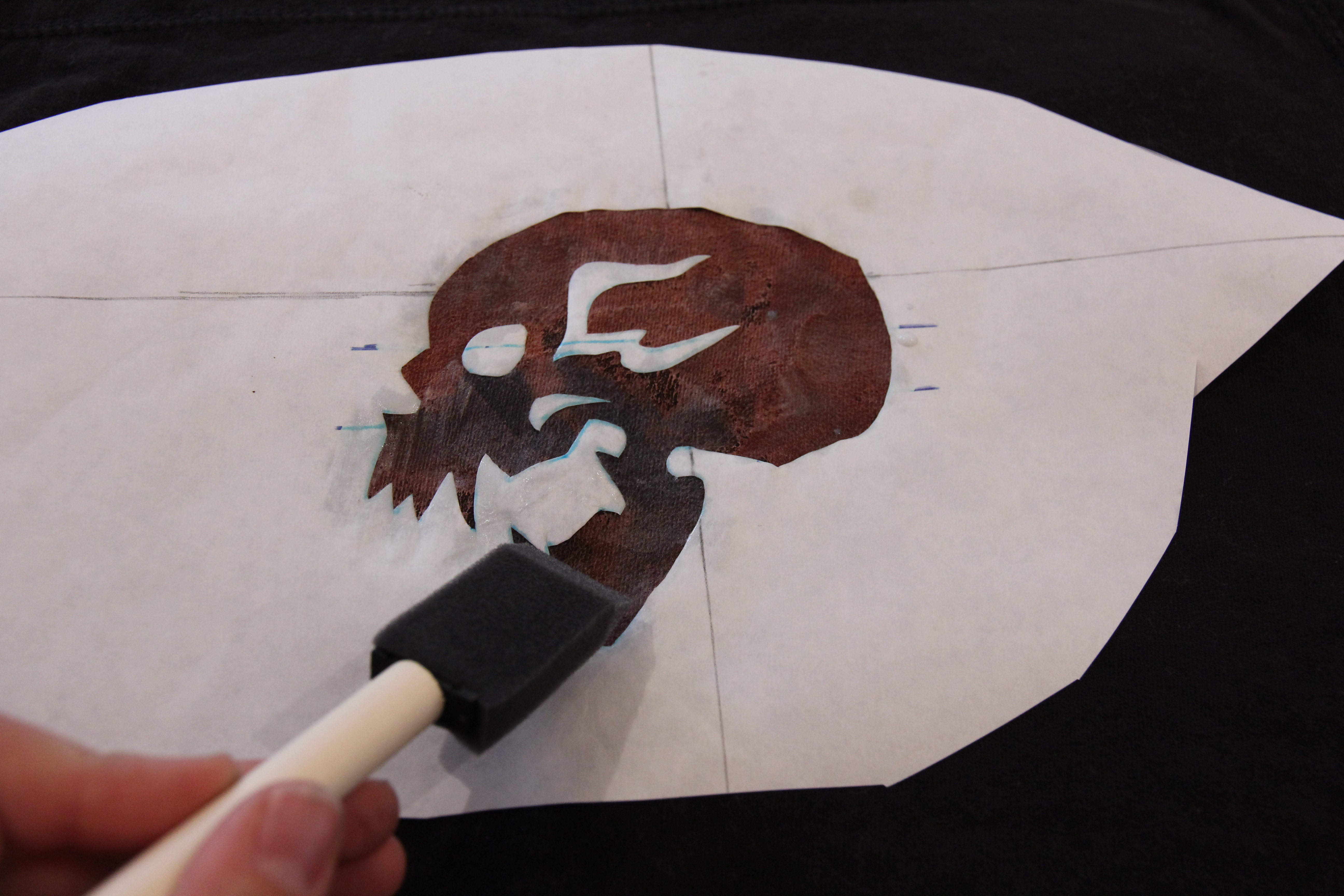 Picture of Bleached Skull Stencil - Applying Bleach