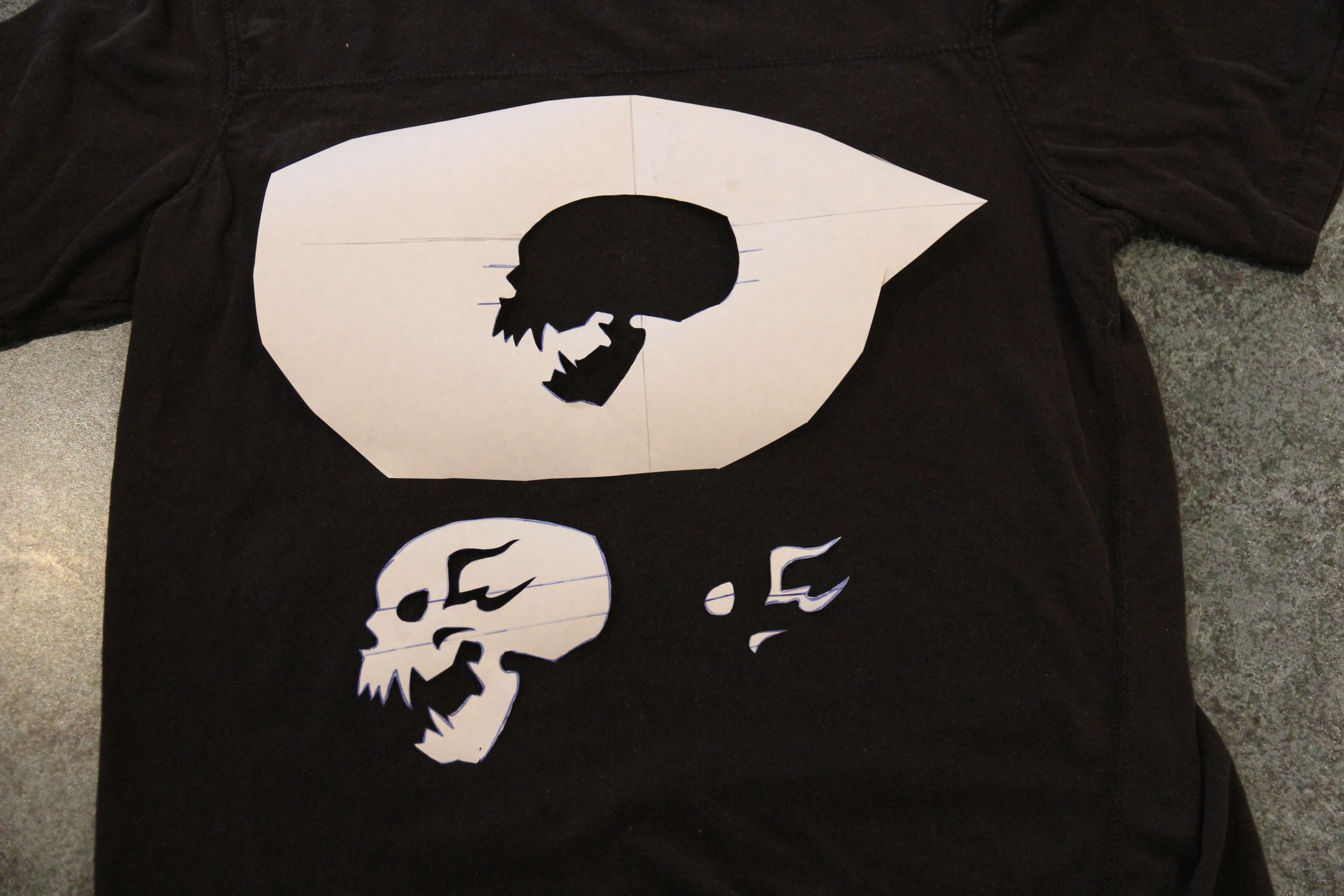 Picture of Bleached Skull Stencil - Cutting Out the Design