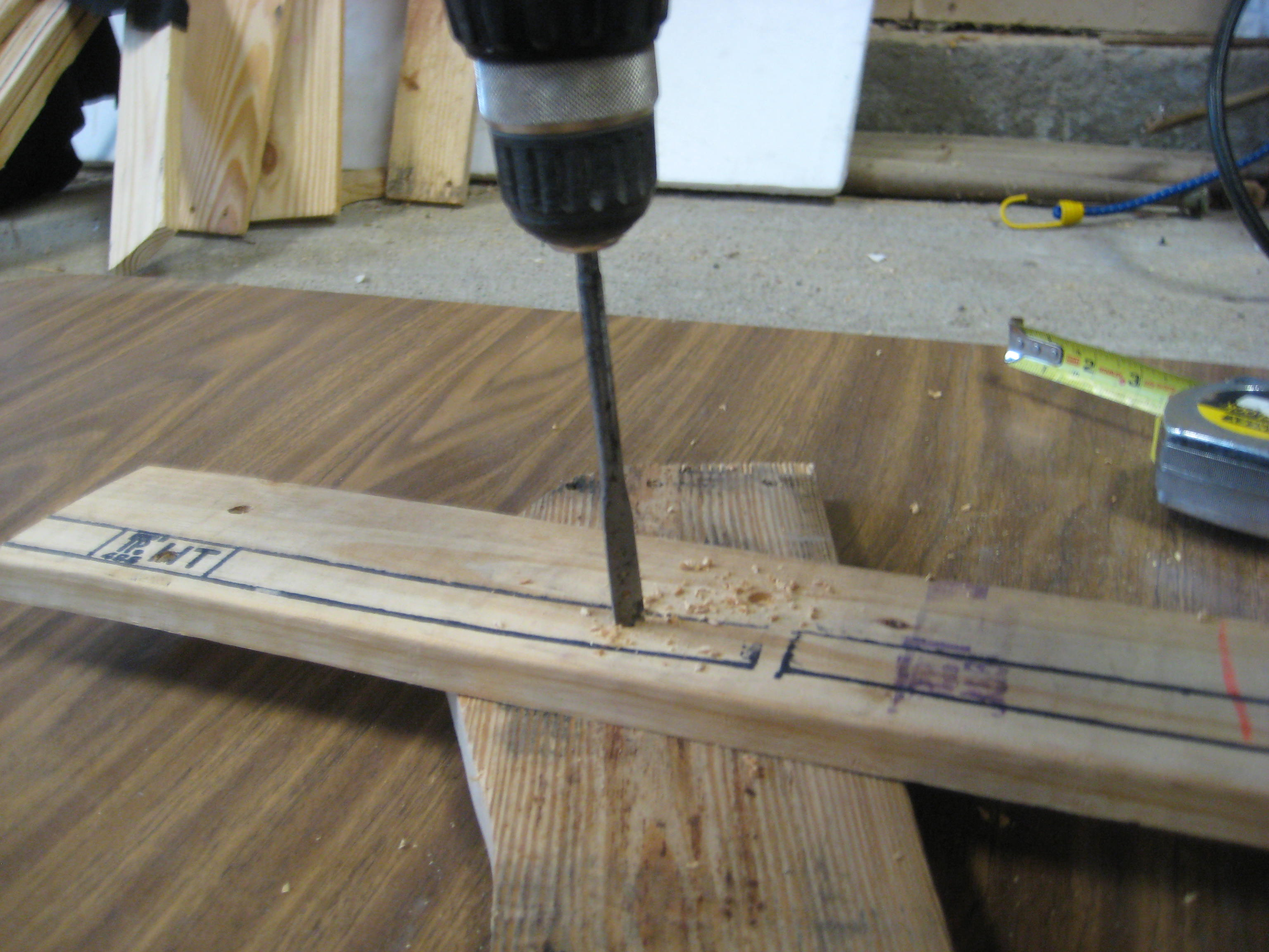 Picture of Drill Pilot Holes, Countersink, Then Attach the Front Leg.