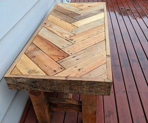 Reclaimed Pallet Wood Herringbone Outdoor Bench