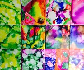 Rainbow tile art coasters