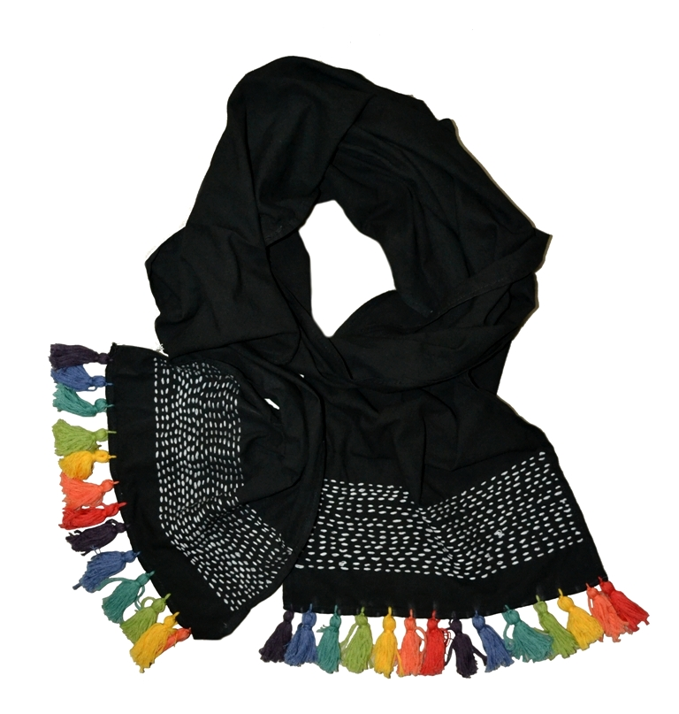 Picture of Hand Dyed Rainbow Tassel Scarf