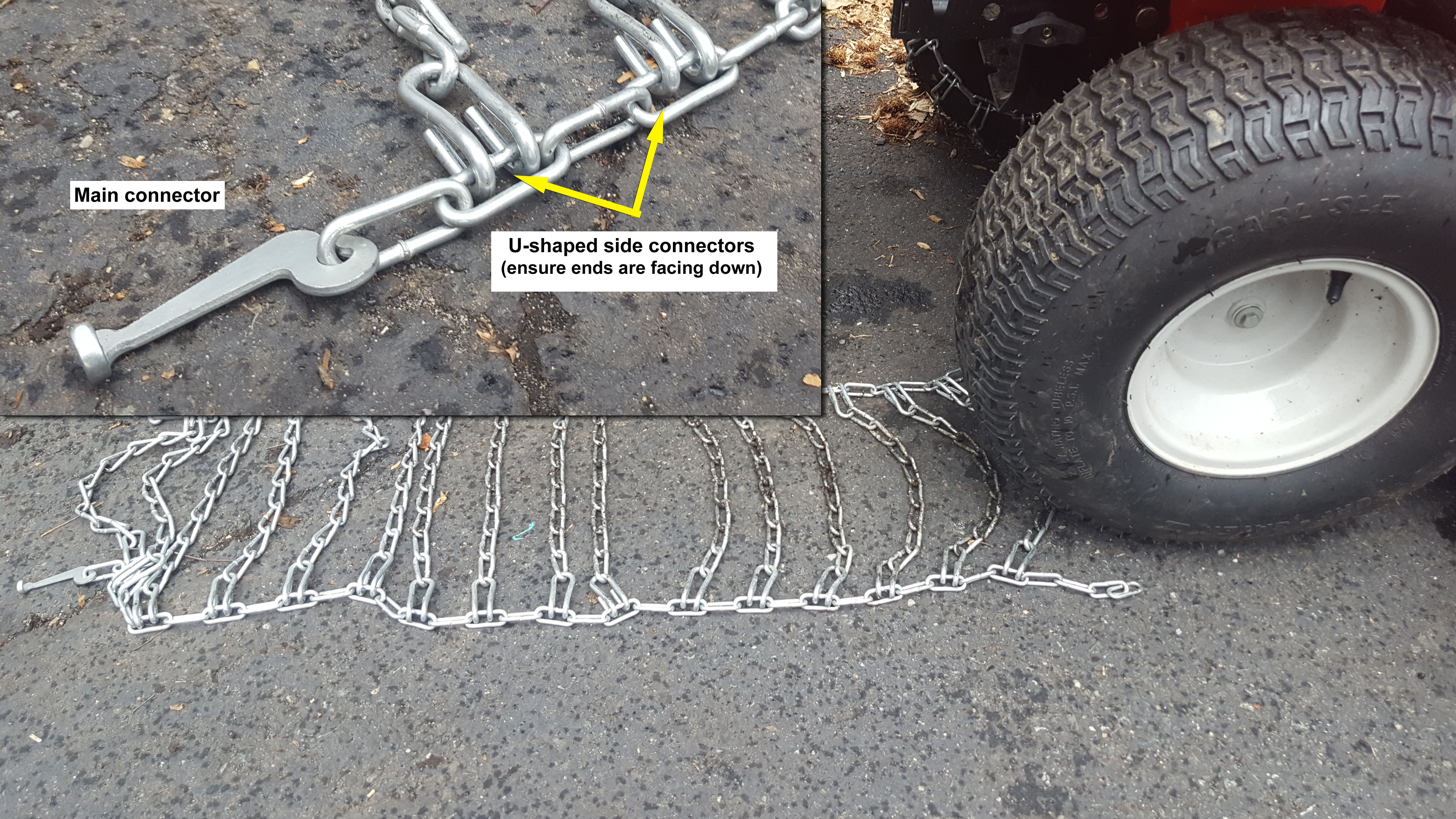 Picture of Extend the Chain Straight Behind the Tire.