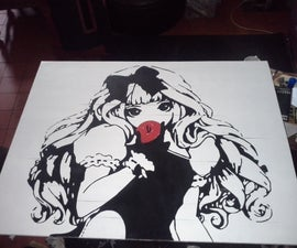 Stencil on a painted board