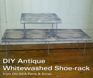 DIY Antique Whitewashed Shoe-rack From Old IKEA Parts & Scrap