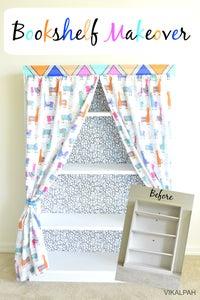 How to Add Curtains to Bookshelf- Bookshelf Makeover