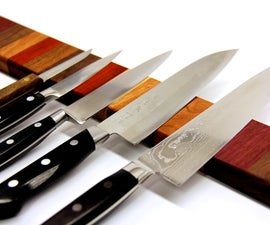 Rainbow Wood Magnetic Knife Strip