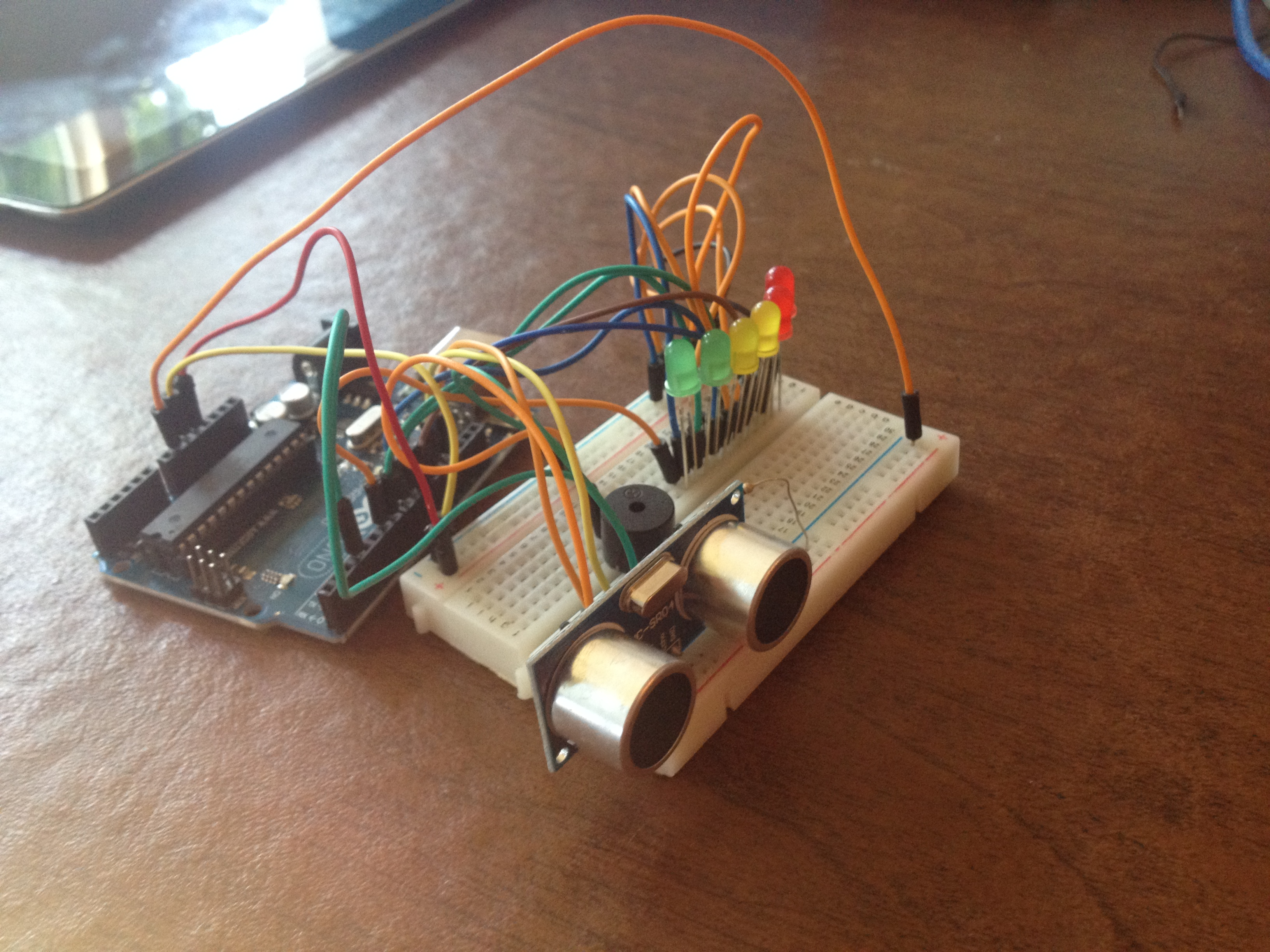 Picture of Arduino Distance Detector With a Buzzer and LED's