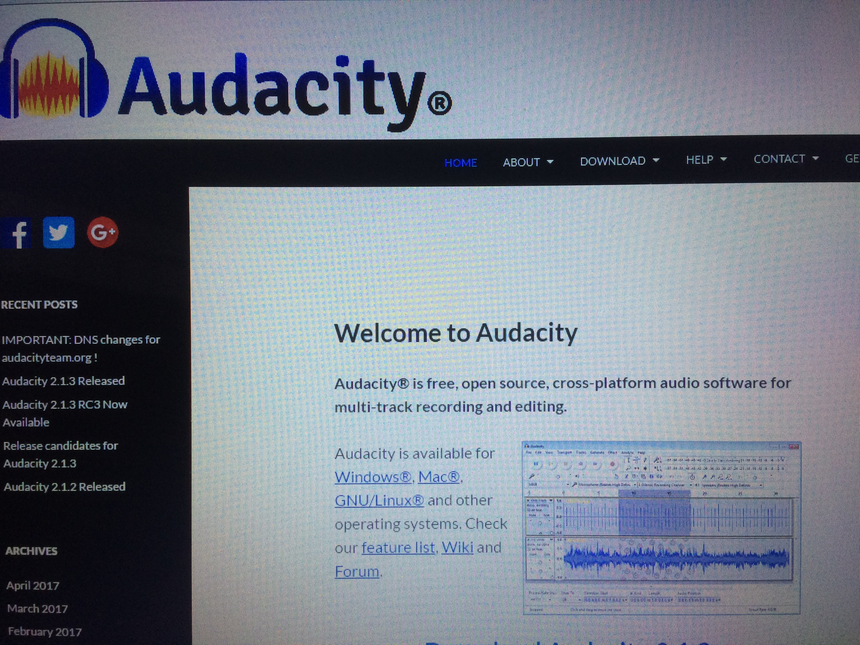 Picture of Download Audacity Software