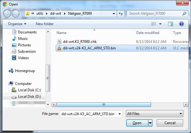 Picture of Upload the BIN DD-WRT File