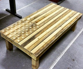 American Flag Coffee Table - Pallet Furniture