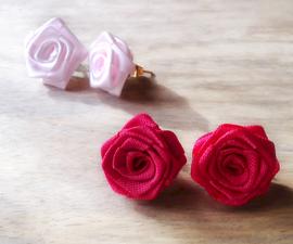 Ribbon Rose Ear Studs