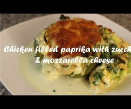 Chicken Filled Paprika With Zucchini & Mozzarella Cheese Recipe