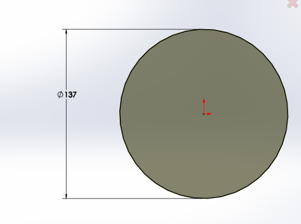 """Picture of Sketch a Circle With Diameter 137mm and Extrude 25mm Upward Using """"Extrude Boss"""""""