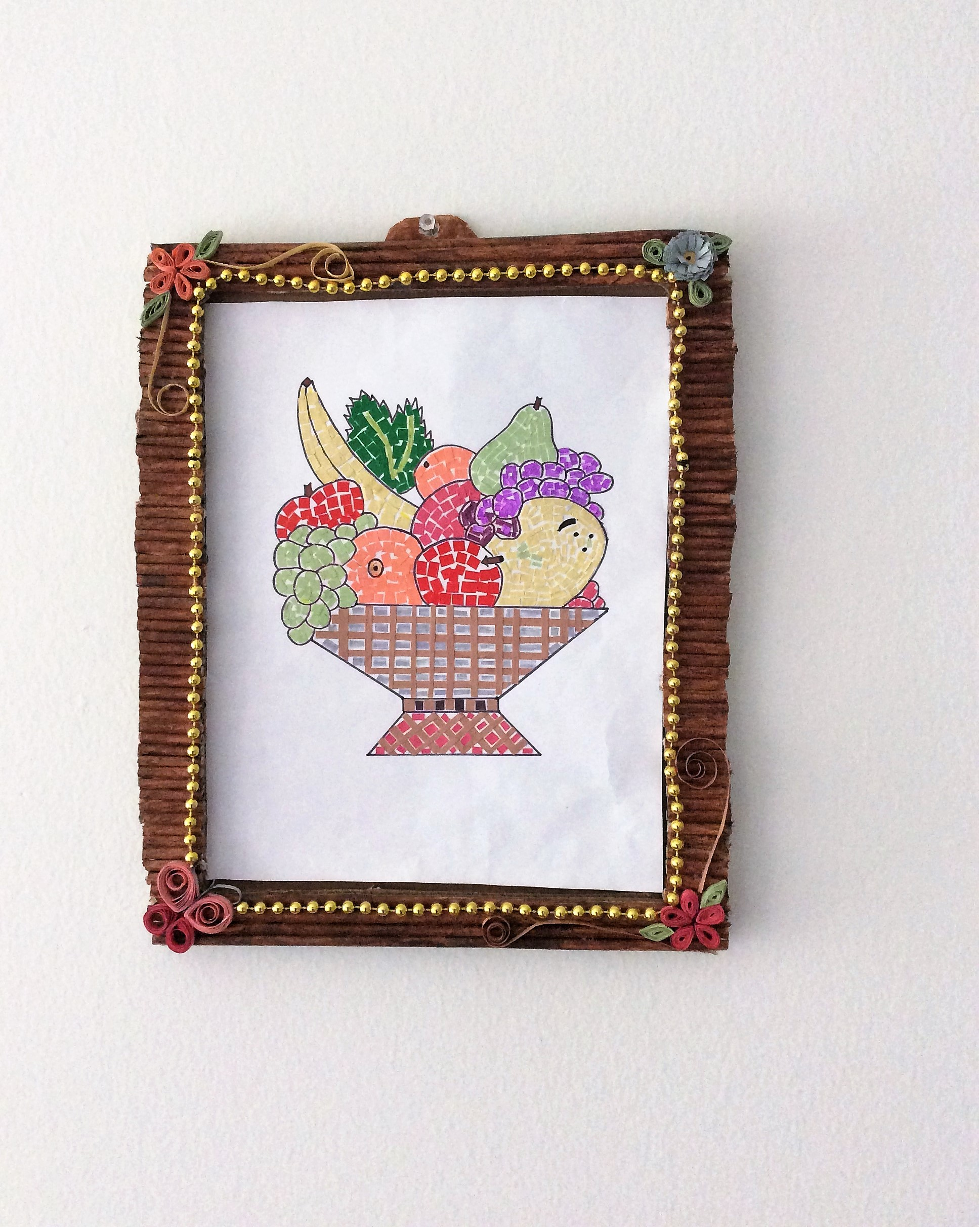 Picture of Mosaic Art Fruit Basket & Frame With Papers /kids Craft