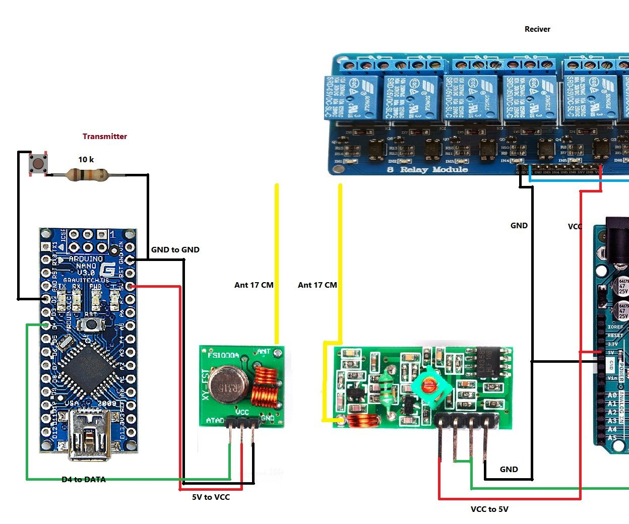 over 120 meter control 8 channel relay module with 433mhz 8 Channel Relay Arduino Wiring External Power