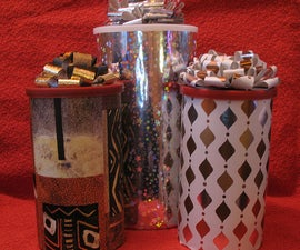 Cool recycled gift canister, wrapping, and fabulous bow