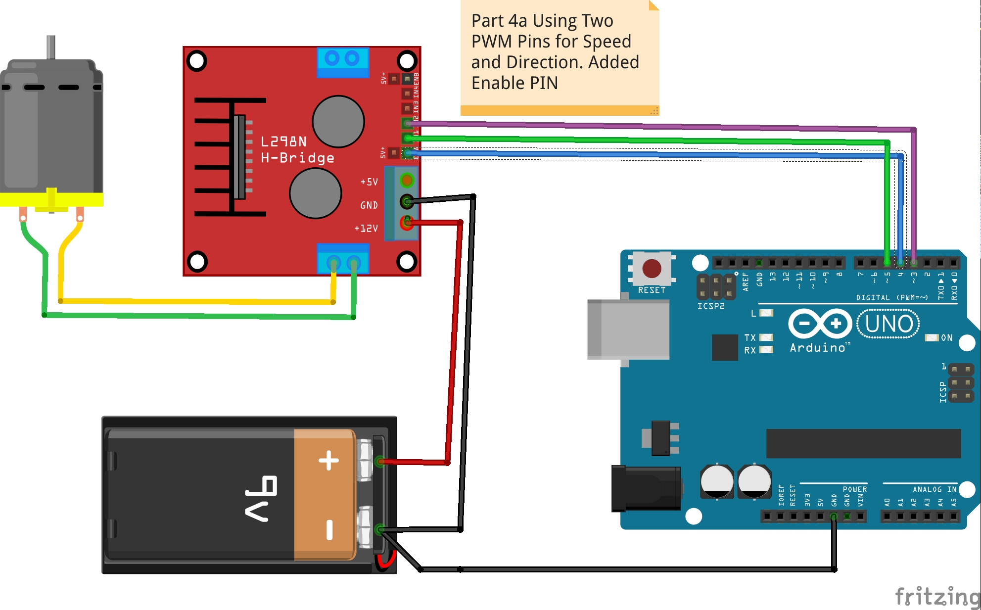Picture of Part 4a - Speed and Direction Control Using Two PWM Pins & Enable.