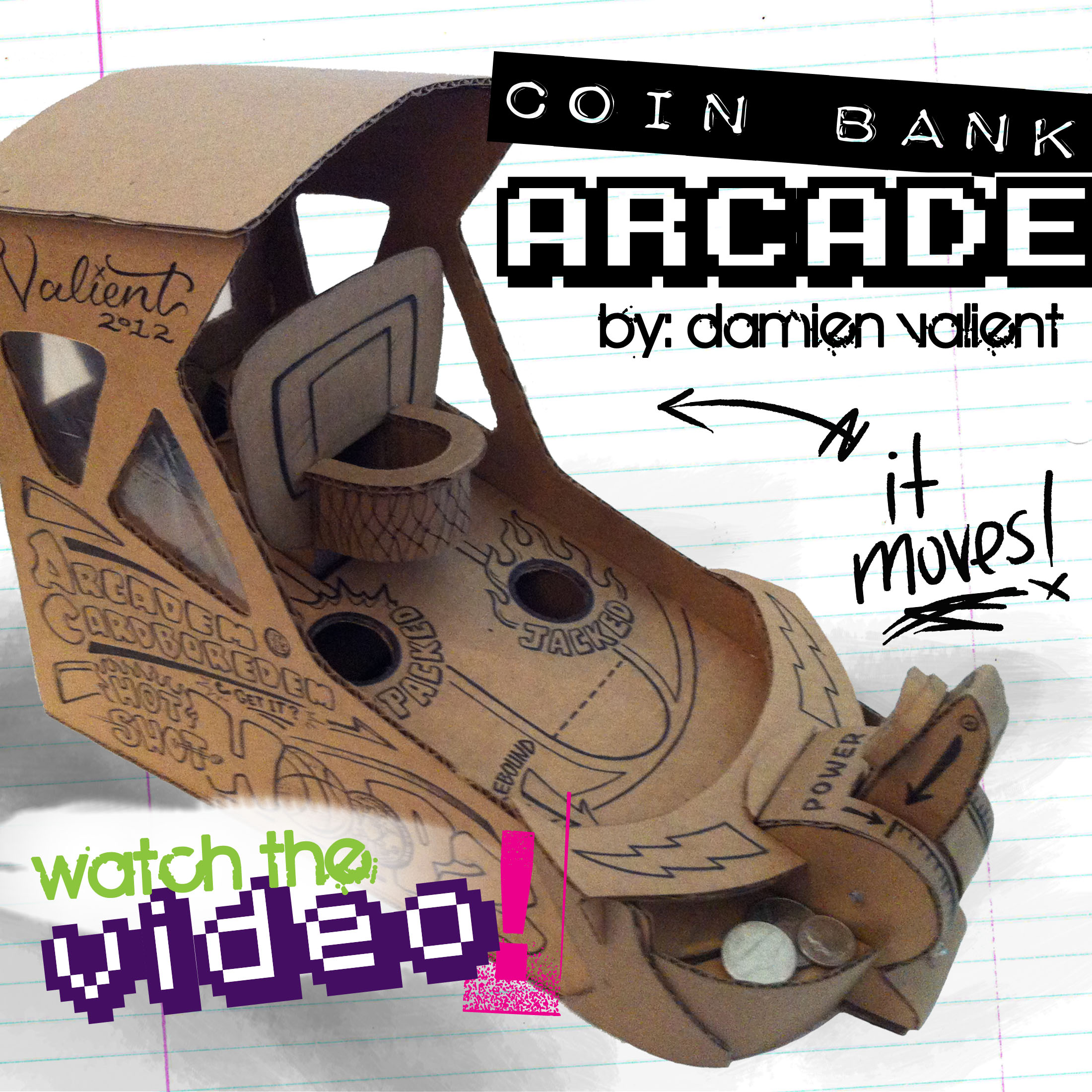 "Picture of Arcadem Cardboredem ""HOOPZ"" -Mini Basketball Arcade Coinbank"