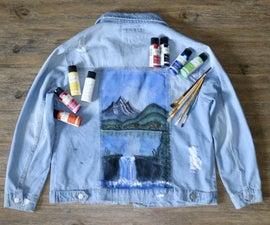 DIY Painted Denim Jacket (Bob Ross Inspired)