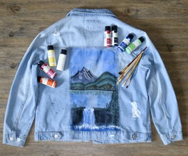 DIY Painted Denim Jacket (Bob Ross Inspired)