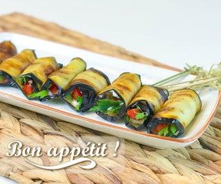 Eggplant Rolls With Tomato & Garlic