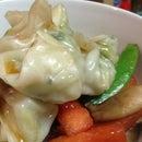 Watermelon Stir Fry with Chervil Cabbage Dumplings