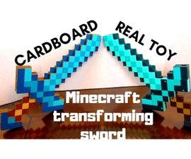 Minecraft Transforming Sword / Pickaxe From Cardboard DIY
