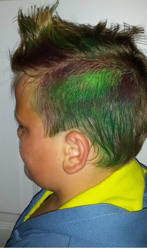 Picture of Purple and Green Faux Hawk