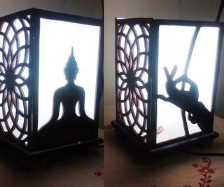 Wooden Buddha Lamp