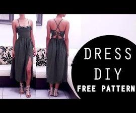 Middi dress front slit    FREE PATTERN