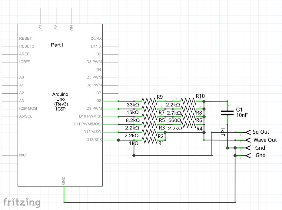 Picture of Breadboard and Circuit Schematic