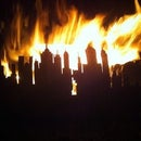 Oil drum garden fire pit with a skyline..!!