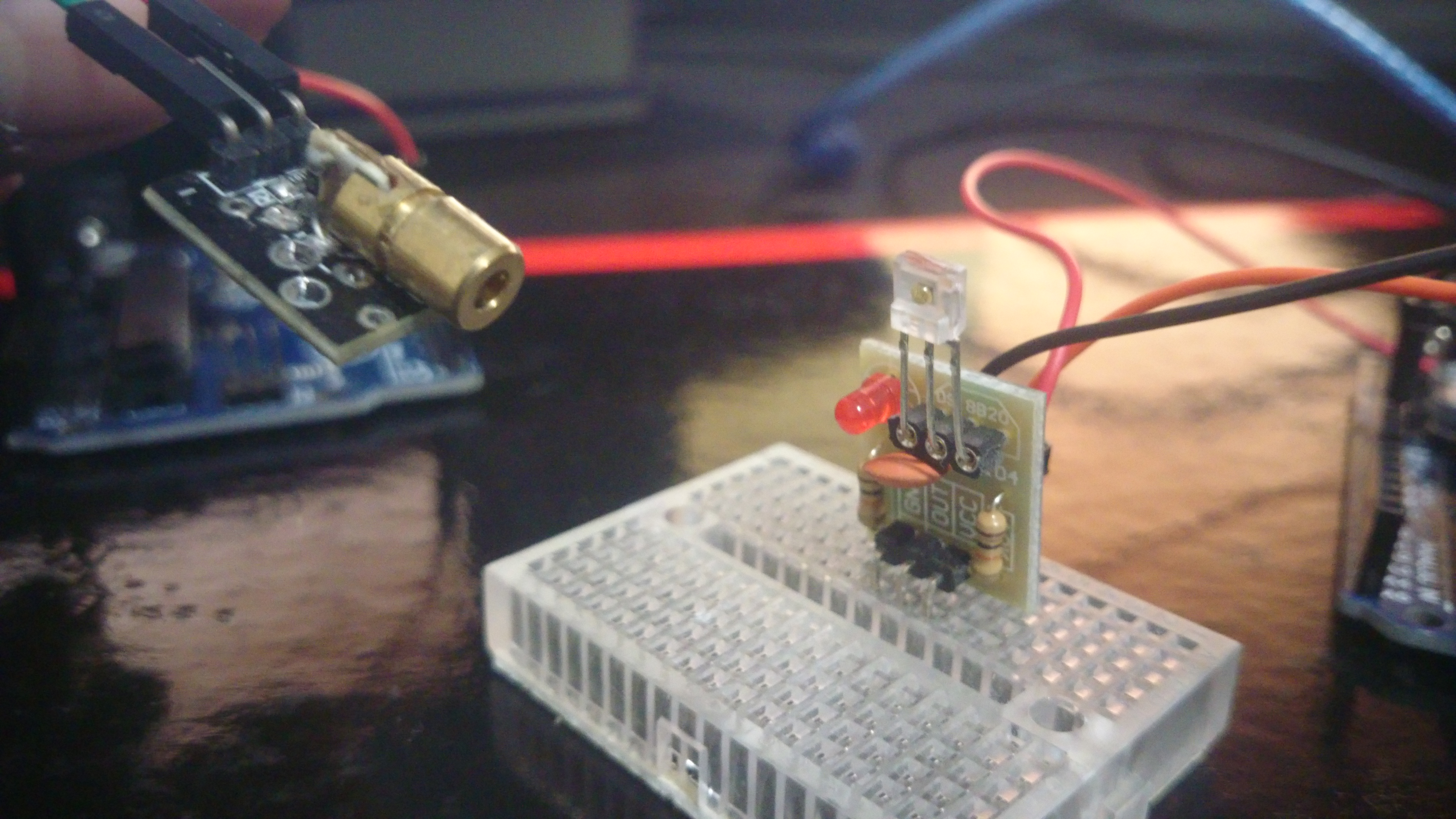 Picture of Arduino Encoded and Modulated Laser and Infrared Serial Communication