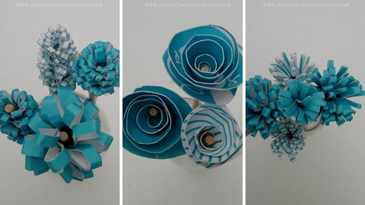 Picture of Bouquet of Blue Flowers Recycling a Blue Box