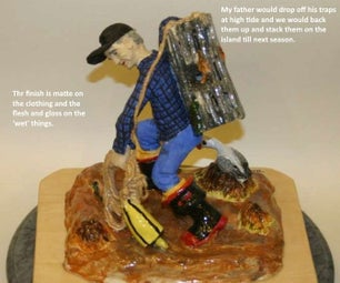 Ceramic: Fisherman With a Trap - Straw Armature