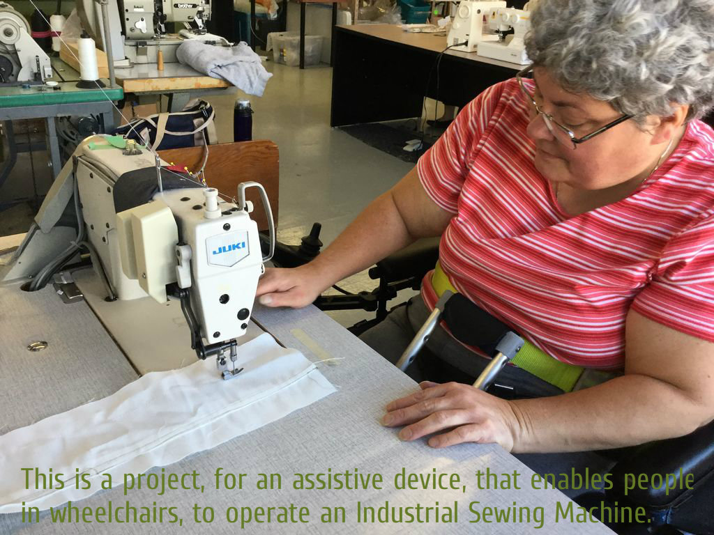 Picture of Using an Industrial Sewing Machine, From a Wheelchair