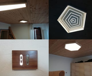 Wooden LED Panels and Touch Buttons for House Lighting System