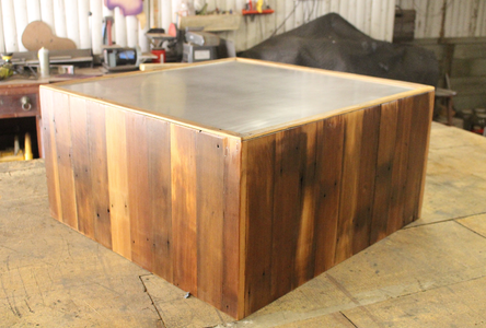 Square Reclaimed 2x4 Coffee Table With Steel Top