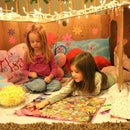 Cardboard Box Fort With Twinkling Lights