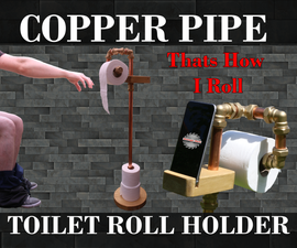 Copper Pipe Toilet Roll Holder & Phone Stand