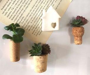 Succulent Wine Cork Magnets