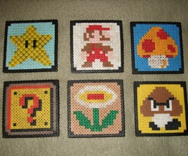 Super Mario Bros Beverage Coasters (Perler Beads)