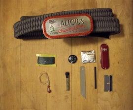 Paracord belt with mini Altoids buckle survival kit