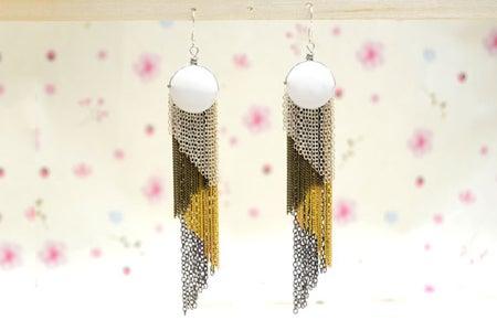 DIY 4-color Diagonal Chain Fringe Earrings