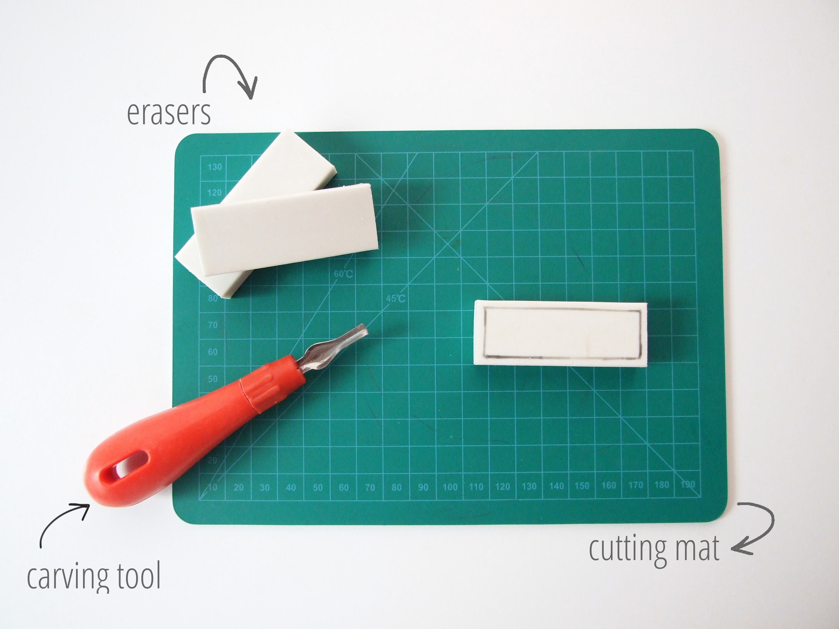 Picture of Things You'll Need to Make Your Own Diy Eraser Stamps.