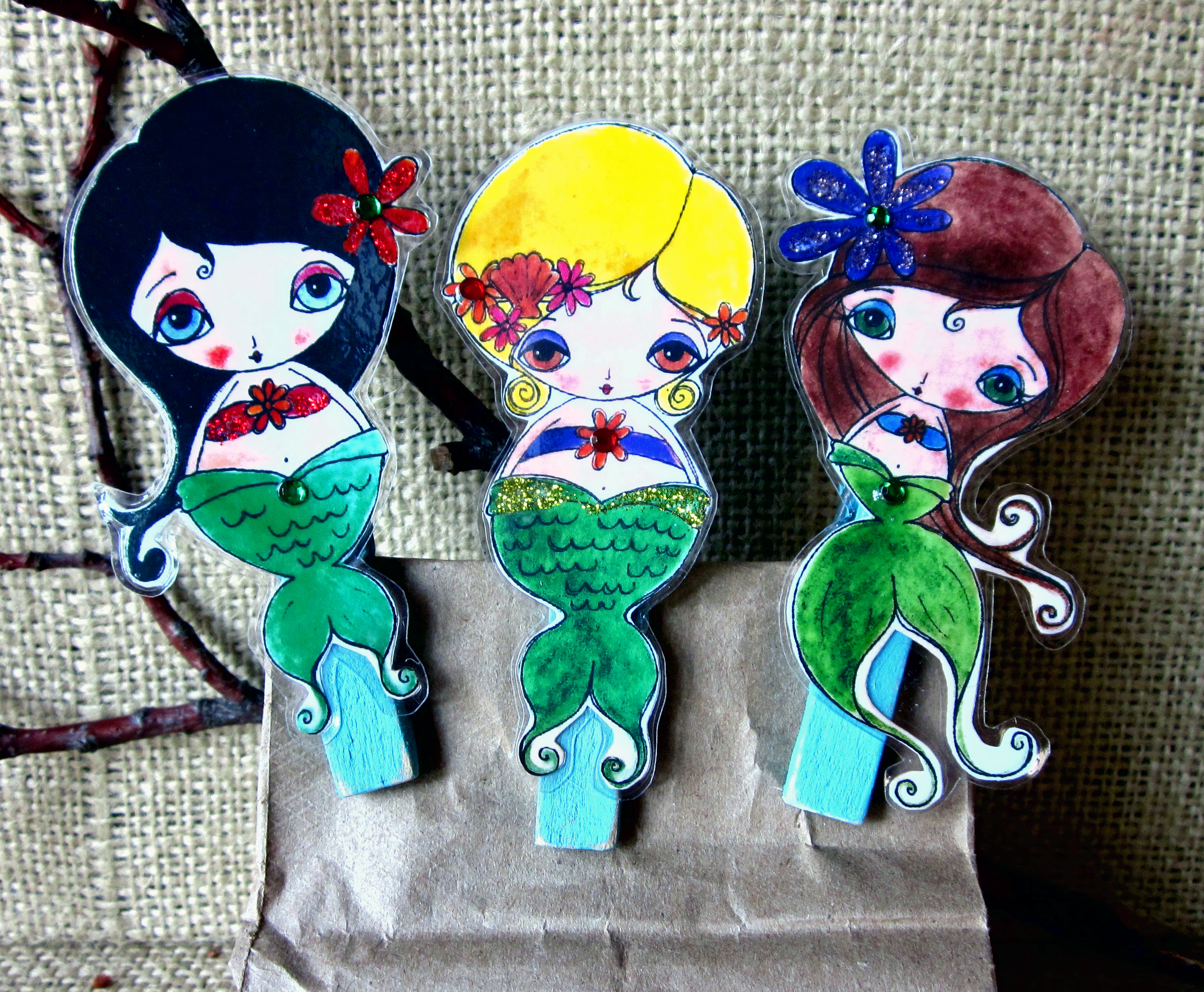 Picture of Trio of Mermaid Clothespin Clips