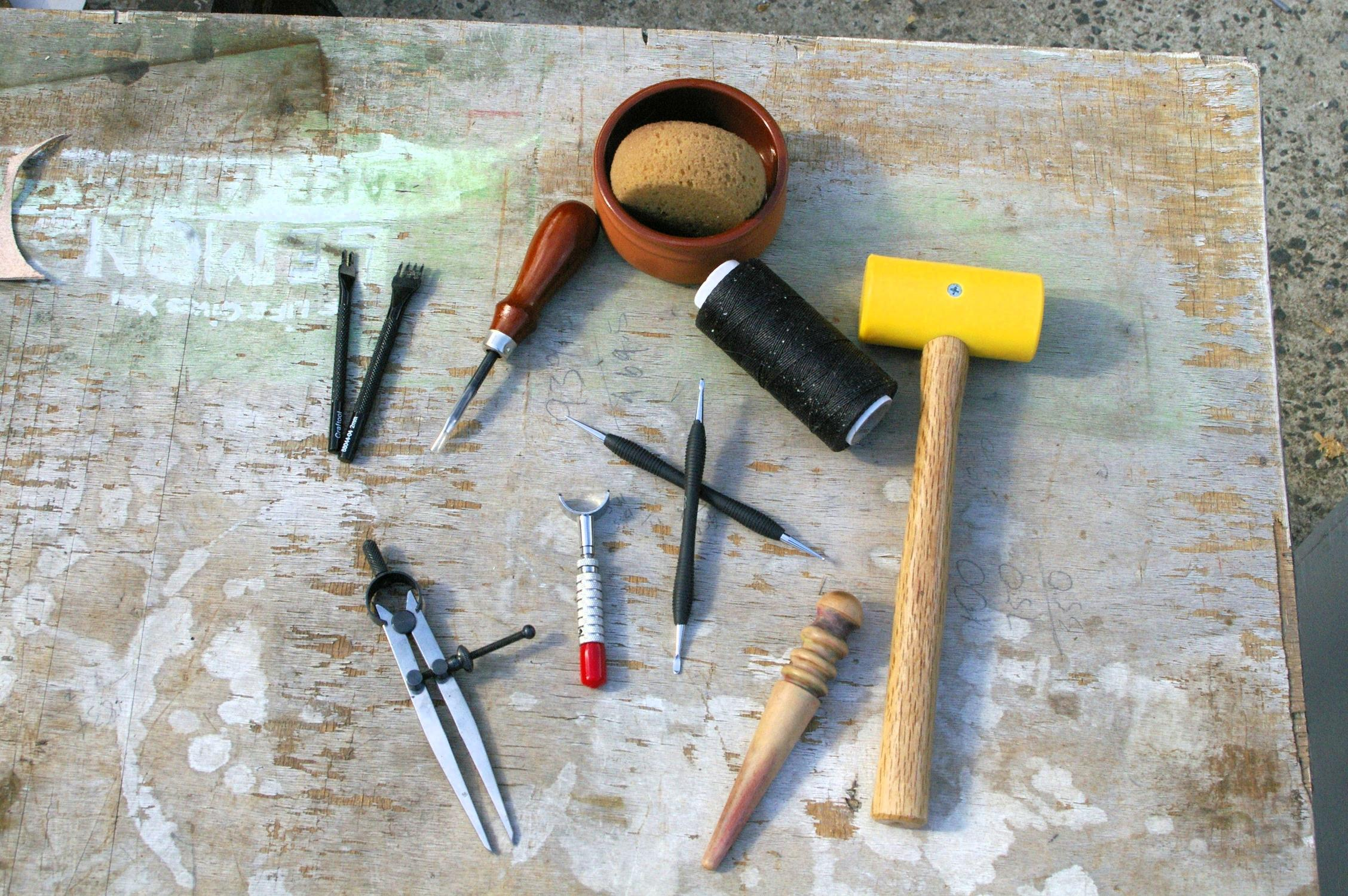 Picture of Homemade or Makeshift Tools to Make a Leather Pendant